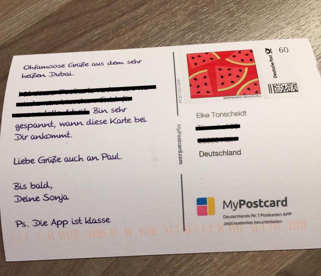 Die Postkarte ist bei Elke angekommen