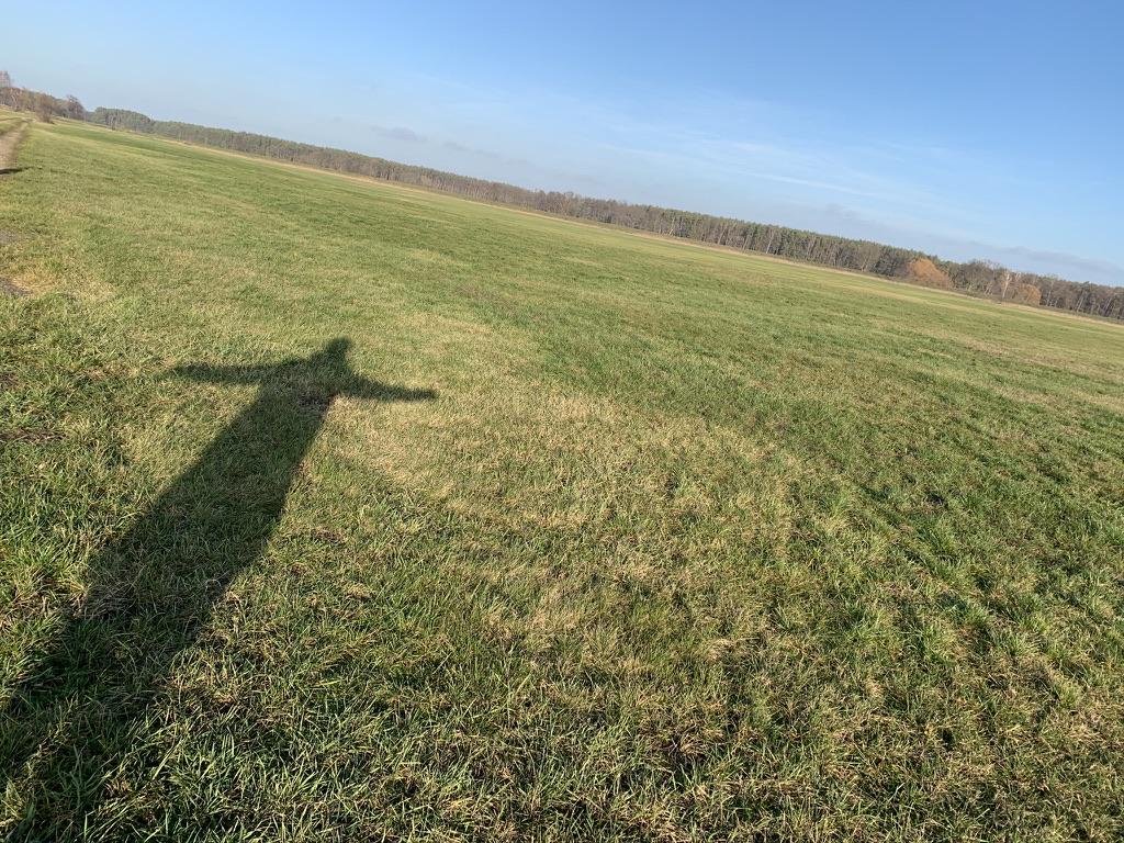 Schatten auf grüner Wiese auf Ackerland
